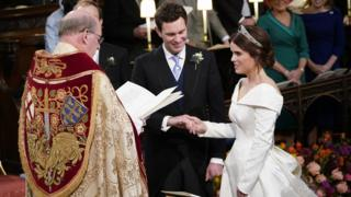 "Princess Eugenie and Jack Brooksbank during their wedding ceremony at St George""s Chapel in Windsor Castle"