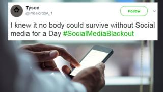 "A tweet reads: ""I knew it, nobody could survive without social media for a day"" overlaid over someone texting"