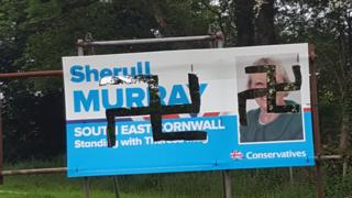 Defaced poster during the 2017 general election campaign