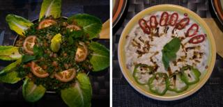 Tabouleh (left) and mutabel (right) prepared by Majeda