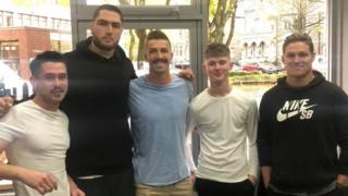 Australia rugby players with Liam O'Brien