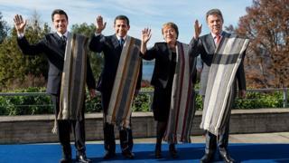 Presidentes de México, Perú, Chile y Colombia