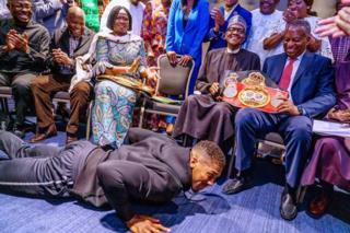 in_pictures Anthony Joshua prostrating before Muhammadu Buhari