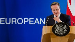 British Prime Minister David Cameron speaks at a news conference in Brussels. Photo: 19 February 2016