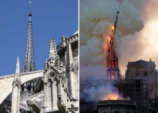 عکسی که سال گذشته گرفته شده (چپ) در کنار تصویر آتشسوزی