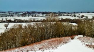 Snowy fields in Longnor, Staffordshire