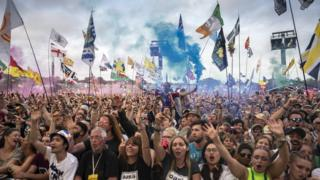 Crowds at the 2019 Glastonbury Festival
