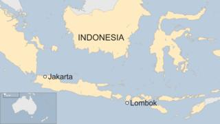 Map of Indonesia showing location of Lombok and Jakarta