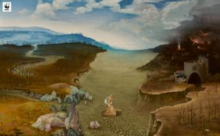 WWF version of El paso de la laguna Estigia (Landscape with Charon Crossing the Styx) by Joachim Patinir