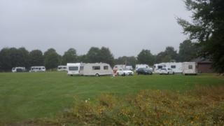 Caravans at Muscliffe recreation ground