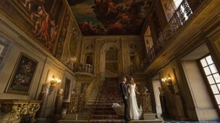 Married couple at stately home