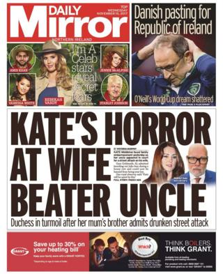 Front page of the Daily Mirror Wednesday 15 November