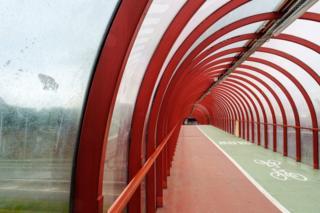 "The ""smartie tube"" pedestrian/cycle bridge"