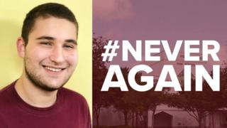 Collage photograph of Alex Wind and Never Again campaign logo