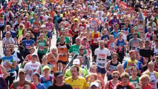 Runners take part in the 2016 London Marathon