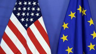 EU and US flags side-by-side