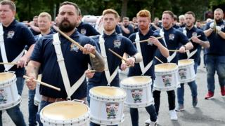 in_pictures Twelfth of July celebrations in Portadown today as 6 local bands paraded through streets and estates in a socially distanced manner