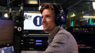 Greg in the new studio for the Radio 1 breakfast show