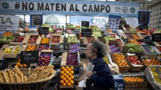 """A woman walks past a produce stand below a banner with an Argentine national flag motif that reads in Spanish: """"Don""""t kill the farm,"""" during a farmers' protest at the Obelisk in Buenos Aires, Argentina, Wednesday, Oct. 14, 2015."""