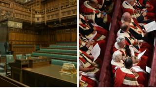 Split screen. One side showing green seats of House of Commons. Another showing red seats of House of Lords.