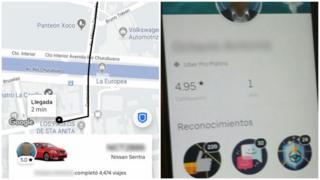 Capturas de pantalla de la aplicación de Uber