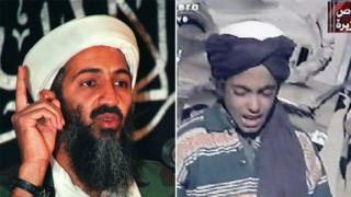 A composite image showing Osama bin Laden, left, and a young Hamza bin Laden in 2001, right