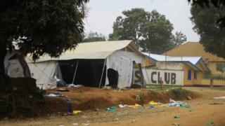 Partly destroyed tent of Ebola centre