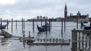 Wind and high water damaged the marble columns of the Riva degli Schiavoni in Venice, 13 November 2019