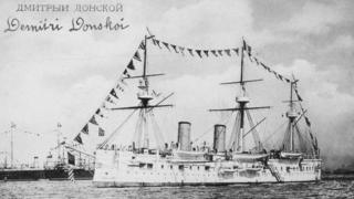 A black and white picture of the Dmitrii Donskoi in Brest, France