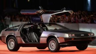 A DeLorean on the red carpet in Venice