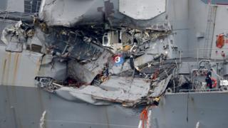 被撞的菲茲傑拉德號停泊於日本橫須賀美國艦隊基地(18/6/2017)