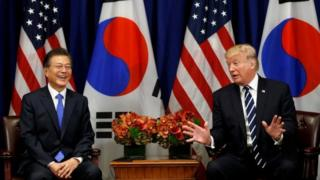 US President Donald Trump meets South Korean president Moon Jae-in during the UN General Assembly in New York, on 21 September 2017.