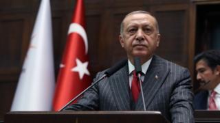 Turkish President Recep Tayyip Erdogan at an AKP meeting