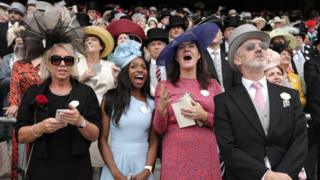 Crowd watching the races at Royal Ascot