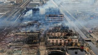 Burnt out buildings after a huge chemical blast in China