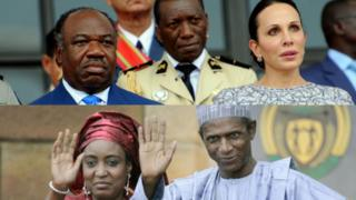 Up: Ali Bongo Ondimba and im wife; Down: Late president Umar Yar'Adua and im wife