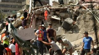 Construção destruída no México