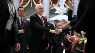US Vice-president Mike Pence head to vote on tax reform, 19 December