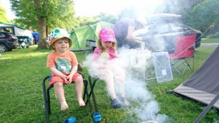 Ivy and Henry camping