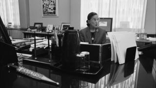 US Supreme Court Justice Ruth Bader Ginsburg sits in her chambers at the Supreme Court in Washington DC, 7 August 2002