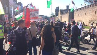 Pro Palestine protest in Cardiff near the castle, ahead of the Euro qualifier