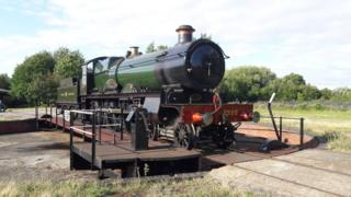 A newly completed GWR Saint Class, Number 2999, Lady of Legend, on the turntable at Didcot Railway Centre