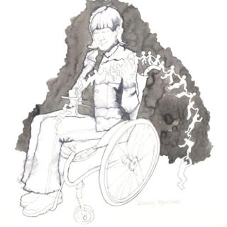 A pen and ink illustration of a woman in a wheelchair cutting out a chain of paper dolls.