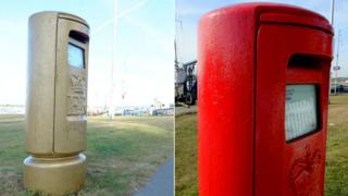 Gold postbox repainted red