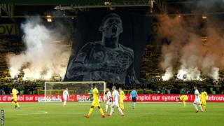 A giant tifo of Emiliano Sala was unveiled before kick off