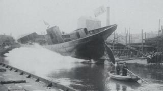 Launch at the Grovehill shipyard, 1950s