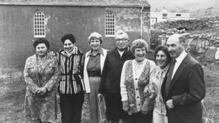 Rachel Johnson, third from right, with other St Kildans during an anniversary visit to Hirta in 1980