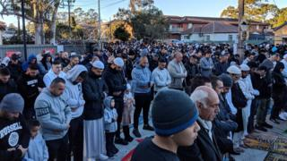 Muslims pray in Sydney at the Lakemba mosque