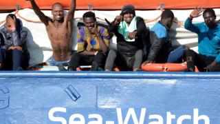 Migrants on the Sea-Watch 3