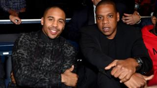 Jay Z pictured with Roc Nation Sports boxer Andre Ward.
